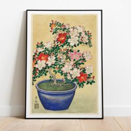 Japanse kunstposter Azaleas
