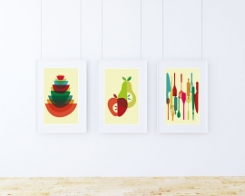 Retro keuken poster opgestapelde schalen