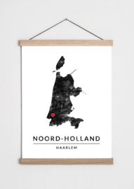 Poster plattegrond Noord Holland