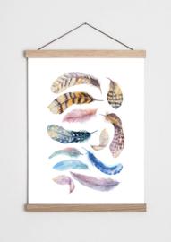 Poster met veren
