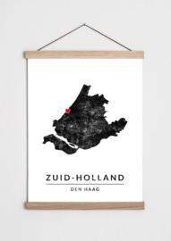 Poster plattegrond Zuid-Holland
