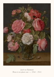 Jacob van Hulsdonck - Rozen in een glazen vaas