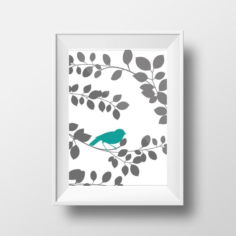 Poster met vogeltje op tak