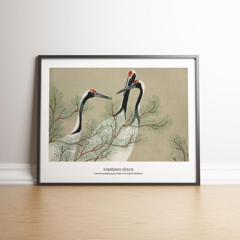 Japanse kunstposter Kraanvogels
