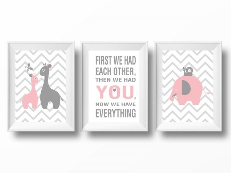 Babykamer poster set giraffen, olifant en tekst