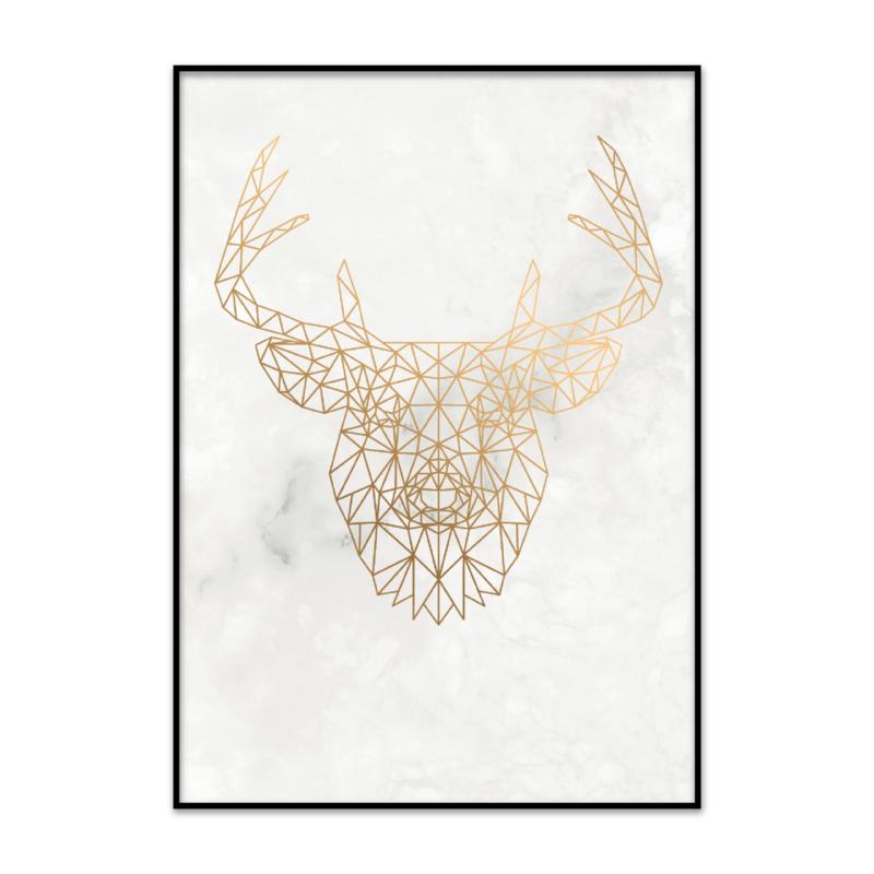 Geometrische hertenkop poster