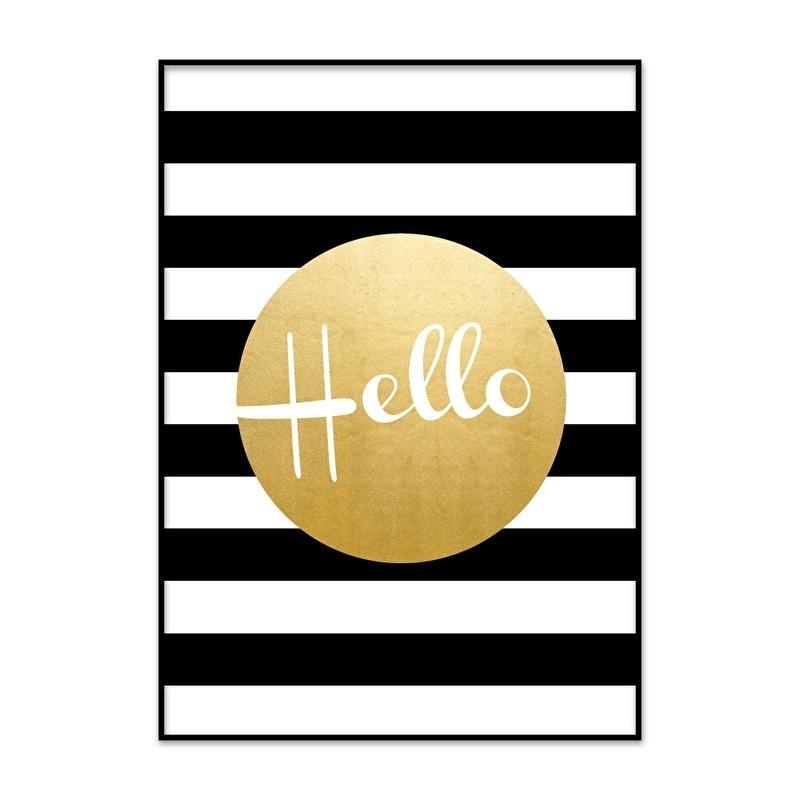 Poster Hello met goud