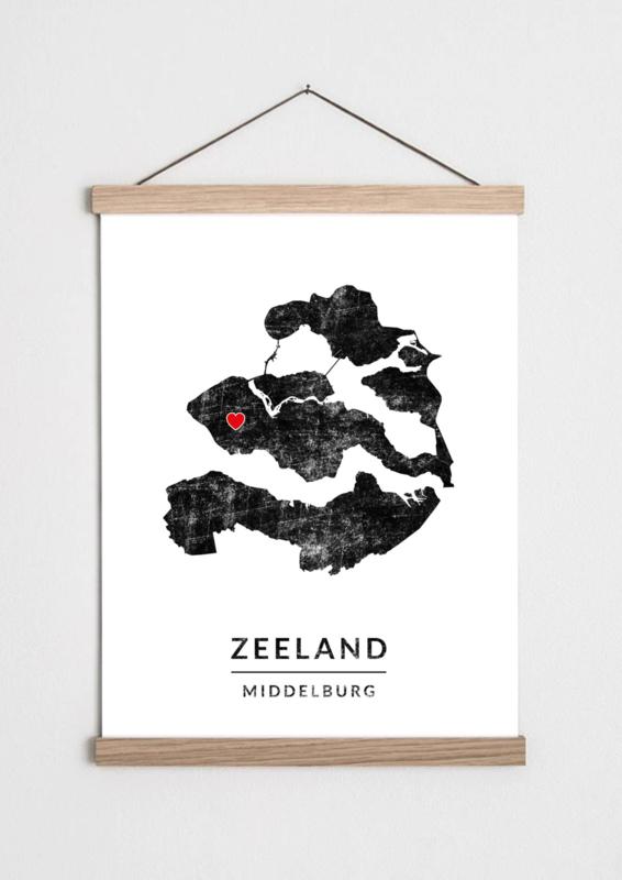 Poster plattegrond Zeeland