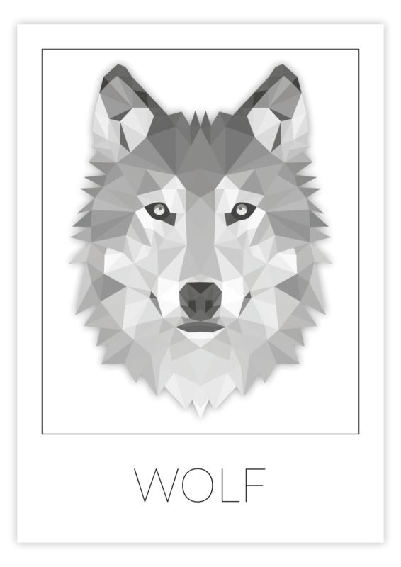 Kinderkamer poster geometrische wolf