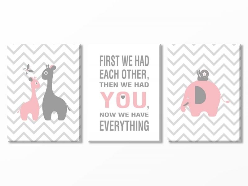 Babykamer canvas olifantje en giraf