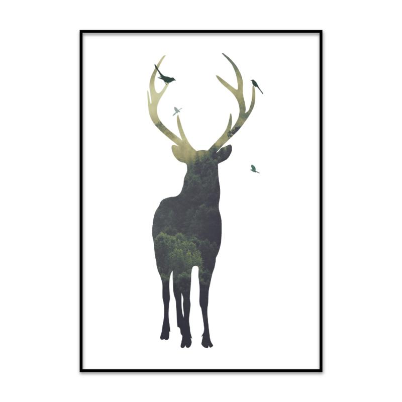 Poster Hert met bos groentinten