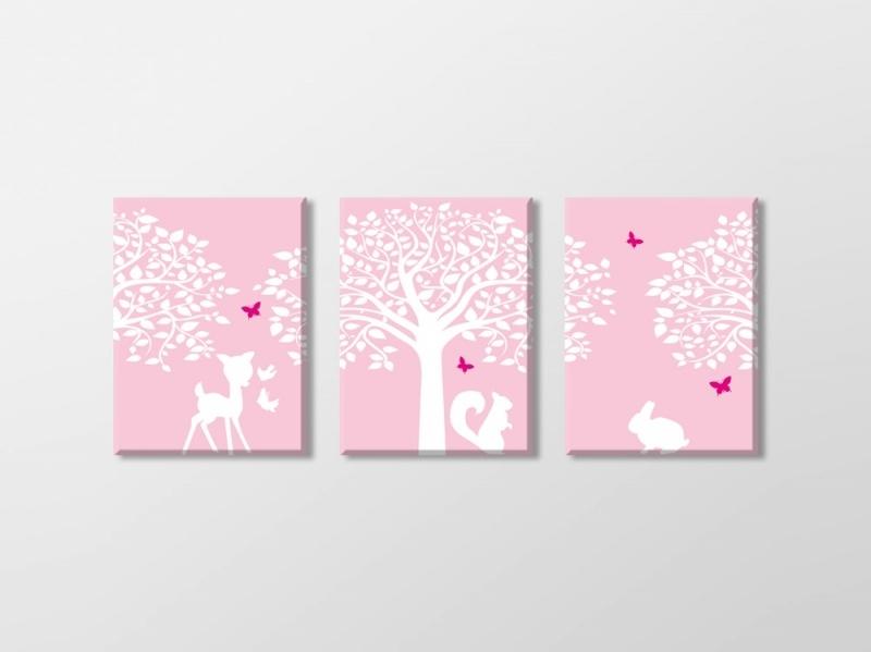 Meisjeskamer canvas bomen en bosdieren