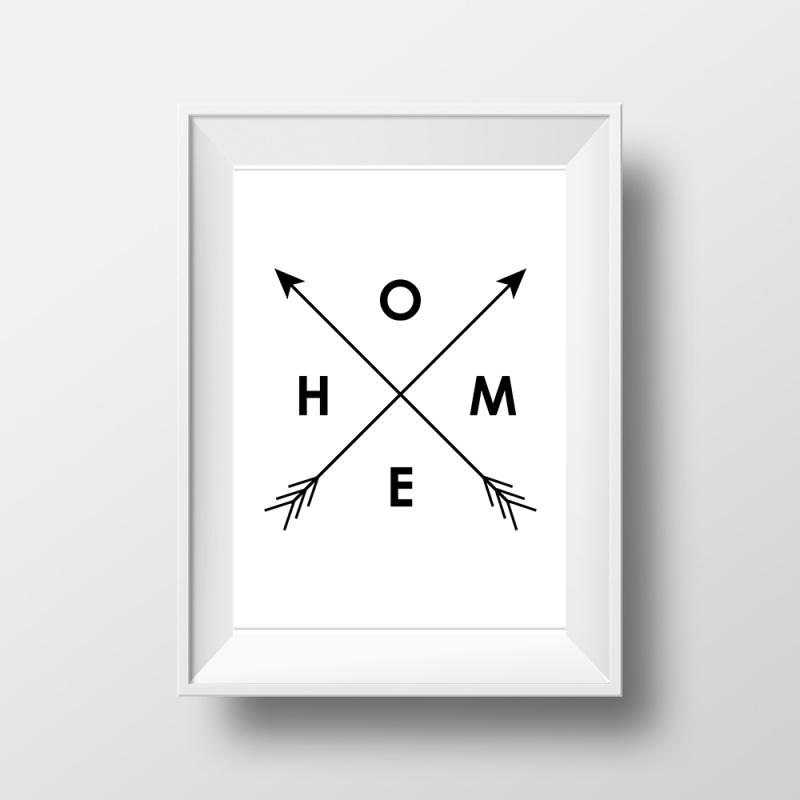 Trendy poster met pijlen en tekst HOME