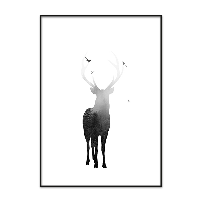 Poster Hert met bos