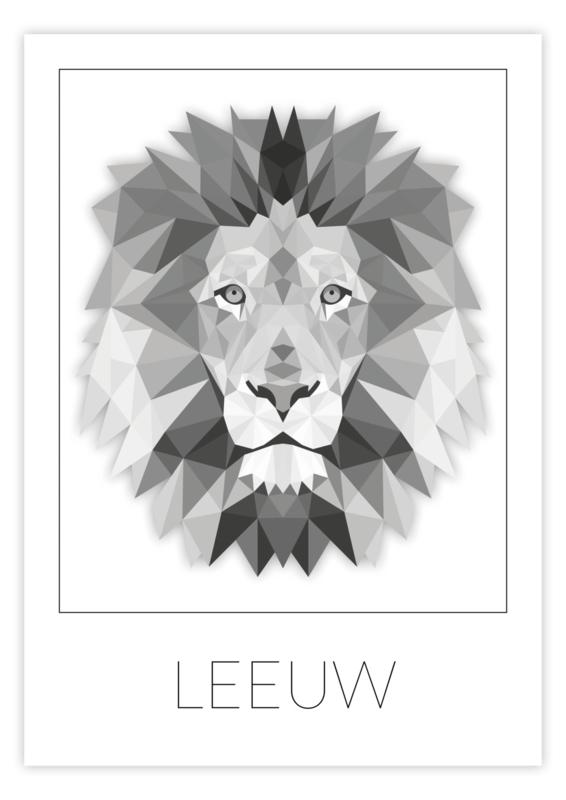 Kinderkamer poster geometrische leeuw
