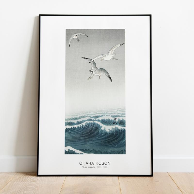 Japanse kunstposter drie meeuwen