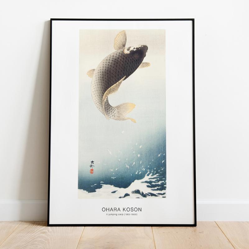 Japanse kunstposter springende karper