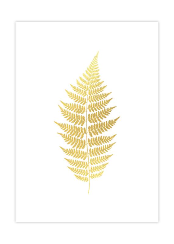 Botanische poster varenblad goud