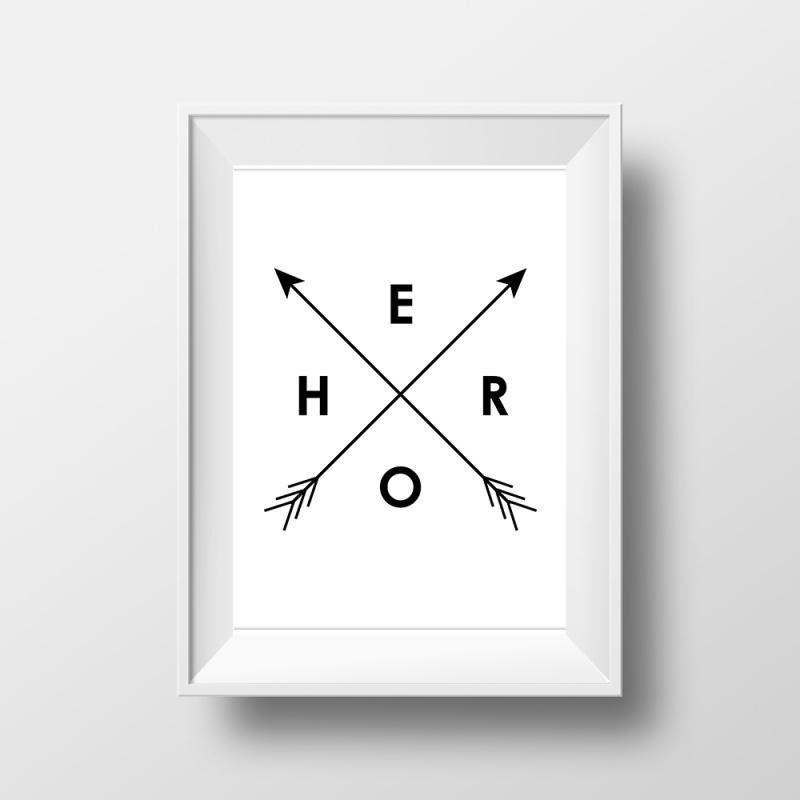 Trendy poster met pijlen en tekst HERO