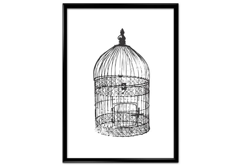Poster met antieke vogelkooi