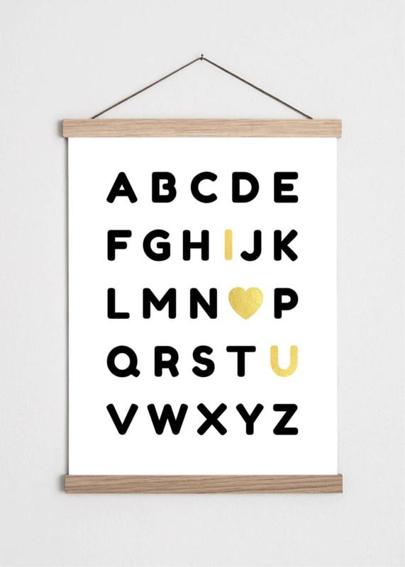 Poster Alfabet zwart met gouden accenten