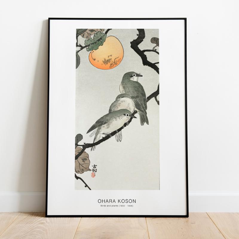 Japanse kunstposter vogels op tak