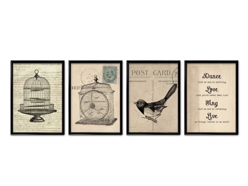 Vier posters antieke postkaart set