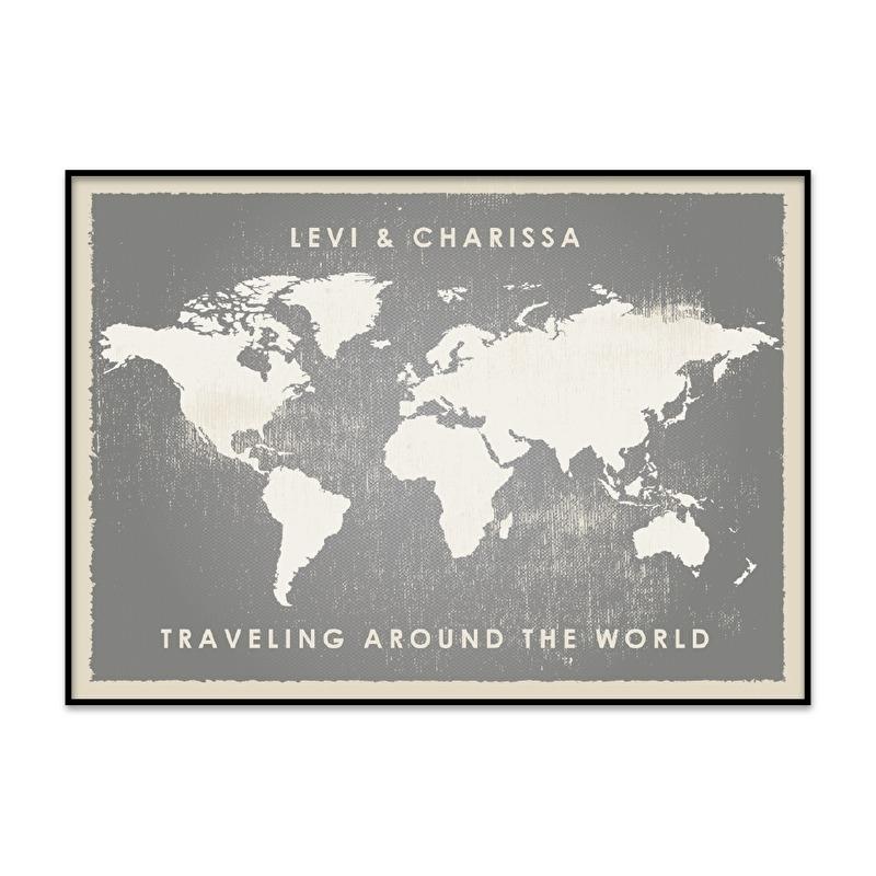 Wereldkaart geliefden poster