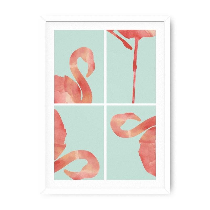 Poster Flamingo's roze en mint