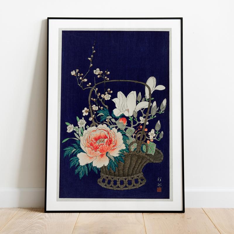 Japanse kunstposter Bloemen in bamboe mand
