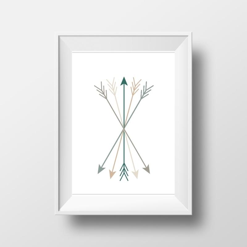 Pijlen in taupe, grijs en groen