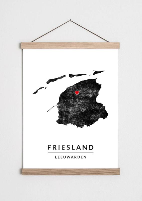Poster plattegrond Friesland