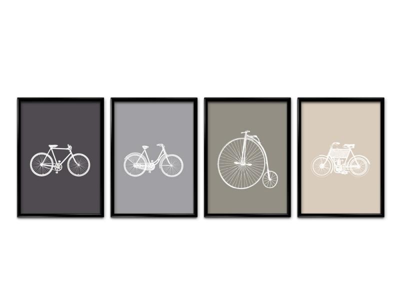 Vier posters vintage fiets collectie