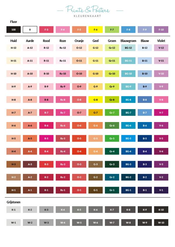 Kleurenkaart prints en posters