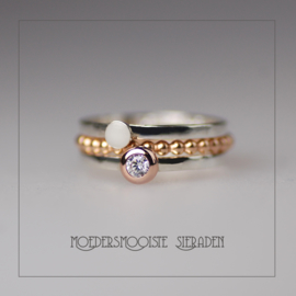 SET Lois moedermelkring zilver, balletjesring roségoud en zilveren ring met roségouden bol met geboortesteen