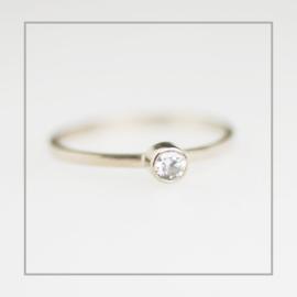 Ring Zilver Minimal Geboortesteen 4 mm