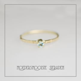 Grillige, organische ring goud Chaton Aquamarijn