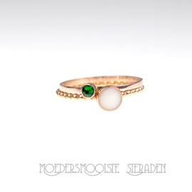 SET Artemis - rosé gouden moedermelkring en ring geboortesteen naar keuze