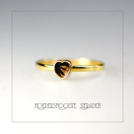 Haarlok ring Strong Heart Goud