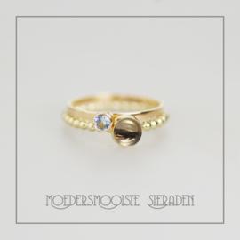 SET Etna haarlokring met geboortesteenring goud