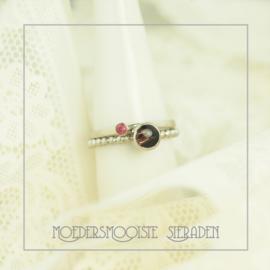 Set Etna haarlokring met ring geboortesteen