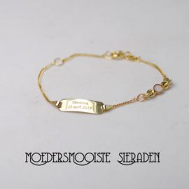Kids Moedermelk plaat-armbandje goud
