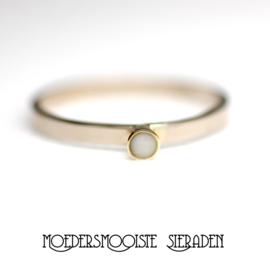 Ring Fleur witgoud met geelgoud
