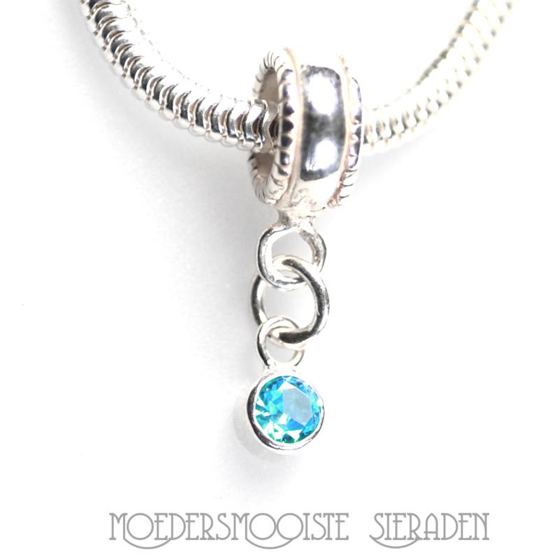 Zilveren kraal met geboortesteen Aquamarijn