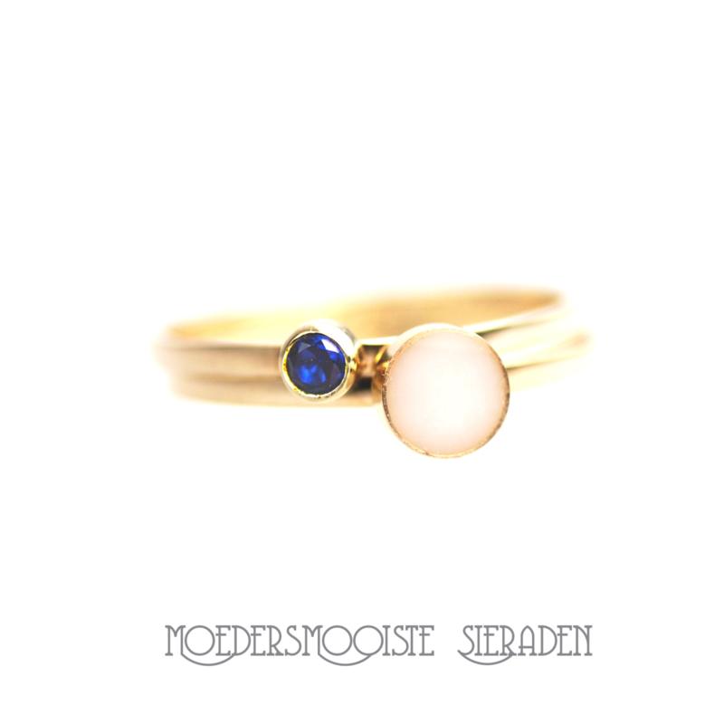 SET Apollo- gouden moedermelkring  met geboortesteen-ring