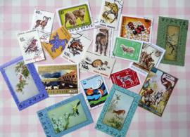 Postzegels 20 gemengde dieren