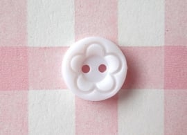 Knoop rond met bloem wit