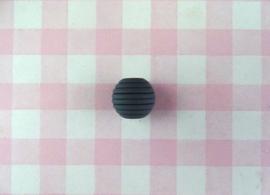Siliconen kraal ribbel 15 mm donkergrijs