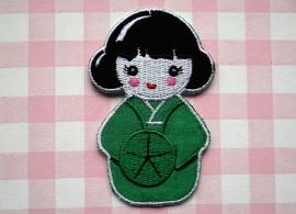 Strijkapplicatie Geisha groen