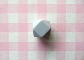 Siliconen kraal hexagon 17 mm lichtgrijs